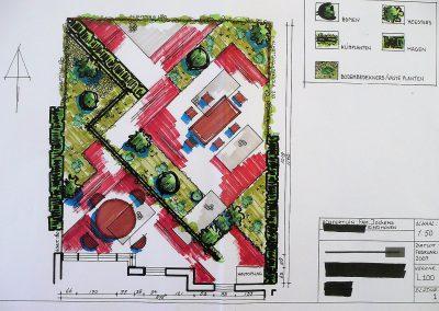 kleine stadstuin ontwerp diagonaal